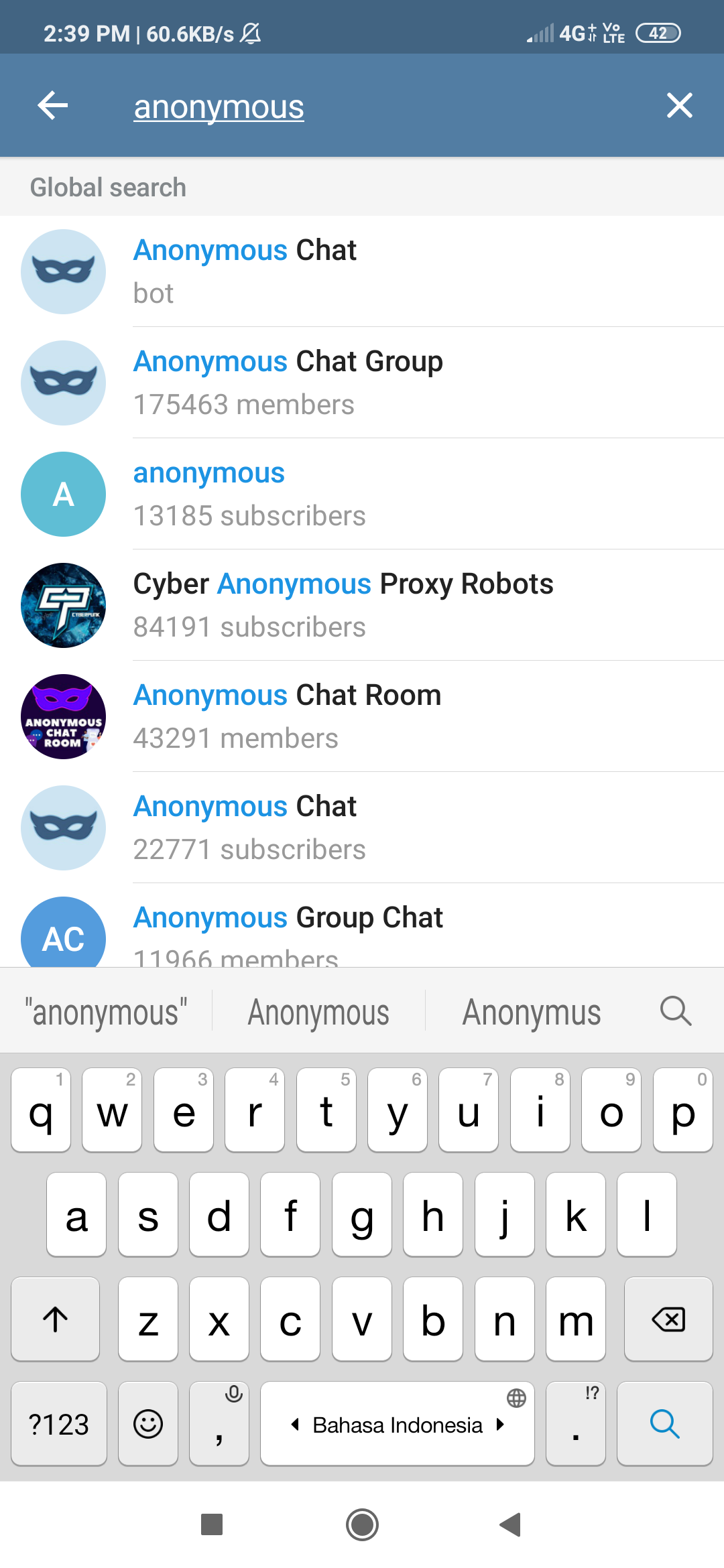 apa itu anonymous chat telegram